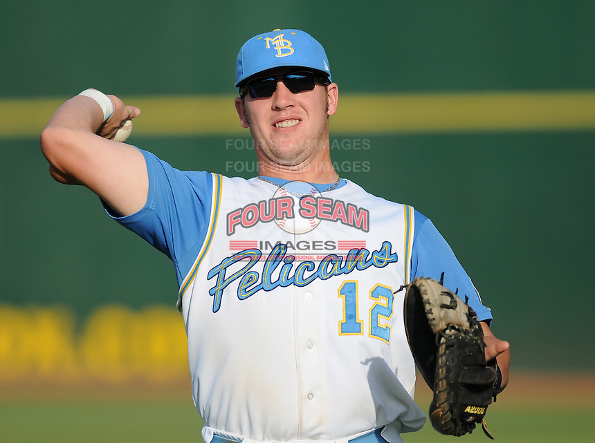 July 7, 2008: Catcher Tyler Flowers (12) of the Myrtle Beach Pelicans, Class A affiliate of the Atlanta Braves, in a game against the Wilmington Blue Rocks at BB&T Coastal Field in Myrtle Beach, S.C. Photo by:  Tom Priddy/Four Seam Image