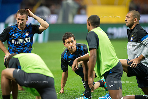 "Yuto Nagatomo (Inter), SEPTEMBER 30, 2012 - Football / Soccer : Yuto Nagatomo of Inter warms up before the Italian ""Serie A"" match between Inter Milan 2-1 Fiorentina at Stadio Giuseppe Meazza in Milan, Italy. (Photo by Enrico Calderoni/AFLO SPORT) [0391]"
