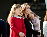16-04-2014 Balcony 74th birthday of the Danish Queen at Marselisborg Castle in Aarhus.<br /> Princess Mary and Princess Isabella and Princess Josephine.<br /><br /> <br /> <br /> Credit: PPE/face to face<br /> - No Rights for Netherlands -