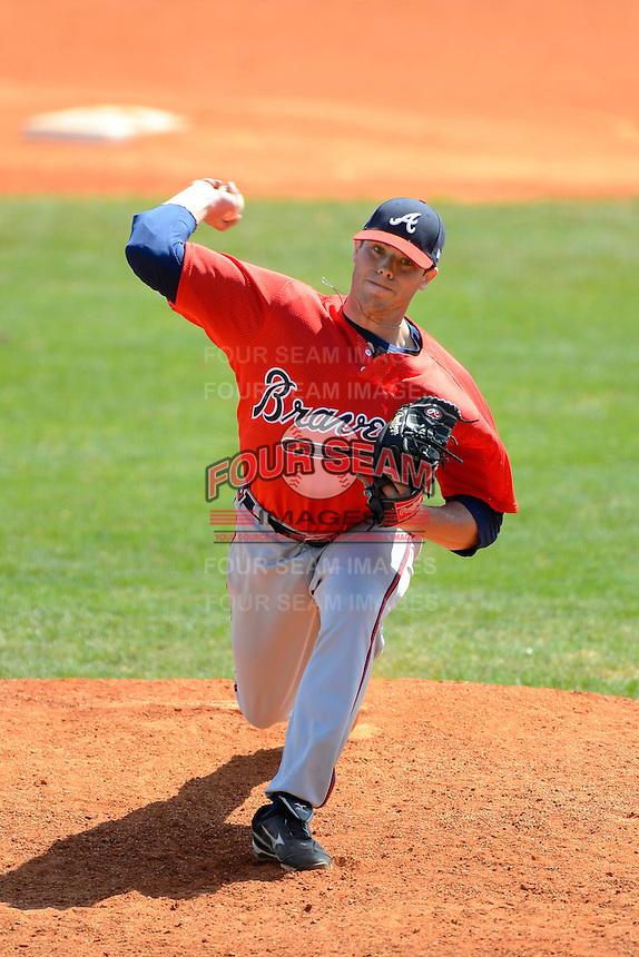 Atlanta Braves pitcher Nate Hyatt #2 during a minor league Spring Training game against the Philadelphia Phillies at Al Lang Field on March 14, 2013 in St. Petersburg, Florida.  (Mike Janes/Four Seam Images)