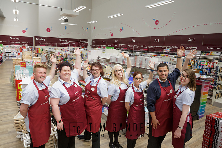 19/06/2017<br /> <br /> Team photo for Hobbycraft taken in the Bristol Imperial Park store of the Bath team prior to the Bath store opening.<br /> <br /> The team are, left to right: Aaron Gielty, Mel Knight, Cat Finlayson, Hannah Stevenson, Jo Horseman, Jake Davany and Lucy McCarthy.