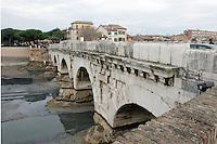 Il Ponte di Tiberio a Rimini.<br /> The Tiberius Bridge in Rimini.<br /> UPDATE IMAGES PRESS/Riccardo De Luca