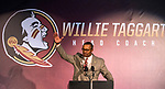 Willie Taggart does the Seminole chop as Florida State University introduced him as their new NCAA college football coach in Tallahassee, Fla., Wed, Dec. 6, 2017. (AP Photo/Mark Wallheiser)