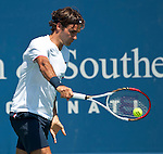 Roger Federer of Switzerland wins a record fifth Western & Southern Open in Mason, OH on August 19, 2012.