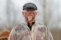 Pictured: An actor performs at The Man Engine show at the Waterfront Museum in Swansea, Wales, UK. Thursday 12 April 2018<br /> Re: The largest mechanical puppet in Britain starts its tour across south Wales.<br /> Man Engine, a mechanical miner which measures 36ft (11m) tall, will appear at the Waterfront Museum in Swansea, Wales, animated by a dozen handlers.<br /> The giant is visiting areas linked to the nation's industrial past.