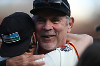 SAN FRANCISCO, CA - SEPTEMBER 29:  Retiring manager Bruce Bochy #15 of the San Francisco Giants hugs former player Tim Lincecum after a ceremony to celebrate Bochy's career following the game between the Los Angeles Dodgers and the San Francisco Giants at Oracle Park on Sunday, September 29, 2019 in San Francisco, California.  (Photo by Brad Mangin)