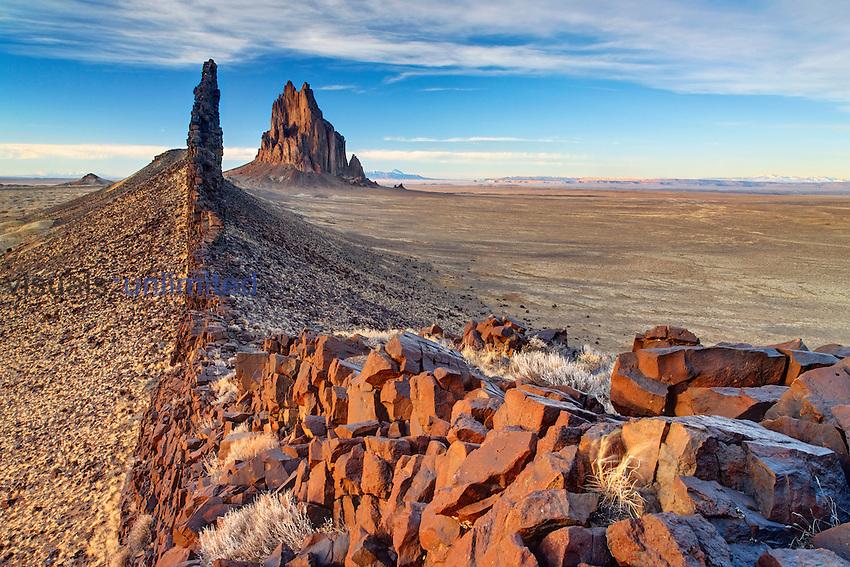 Shiprock and volcanic dike ridge, New Mexico, USA