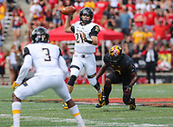 College Park, MD - September 9, 2017: Towson Tigers quarterback Ryan Stover (21) throws a pass during game between Towson and Maryland at  Capital One Field at Maryland Stadium in College Park, MD.  (Photo by Elliott Brown/Media Images International)
