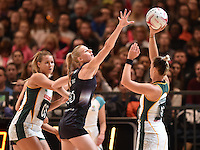 05.02.2017 Silver Ferns Katrina Grant in action during the Silver Ferns v Proteas netball test match played at Wembley Arena  in London, England. Mandatory Photo Credit ©Joe Toth/Michael Bradley Photography