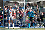 KANSAS CITY, MO - DECEMBER 02: Helen Seed (15) of Carson-Newman University and teammate Jacqueline Burns (28) prepare for an oncoming free-kick during the Division II Women's Soccer Championship held at the Swope Soccer Village on December 2, 2017 in Kansas City, Missouri. (Photo by Doug Stroud/NCAA Photos/NCAA Photos via Getty Images)