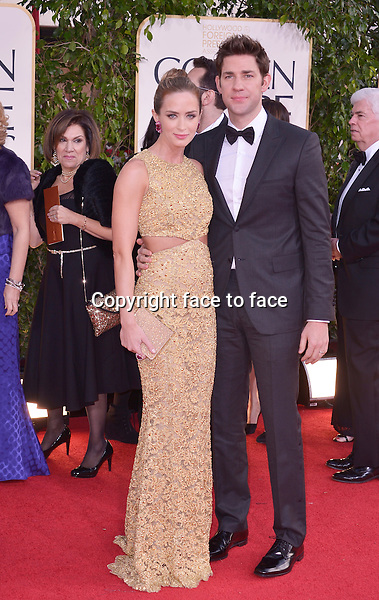 Emily Blunt and John Krasinski arriving at the 70th Annual Golden Globe Awards held at The Beverly Hilton Hotel on January 13, 2013 in Beverly Hills, California...credit: face to face