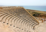 Travel stock photo of Greco-Roman Theatre at Kourion Archaeological Site in Cyprus Mediterranean Sea in the background Spring 2007 Horizontal