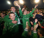 Burscough 3, Gillingham 2, 05/11/2005. Victoria Park, Burscough, FA Cup first round. Home players celebrating a famous cup upset on the pitch after the match. Burscough (in green) from the Northern Premier League Premier Division defeated their Football League Championship rivals by 3-2 with two goals in the last minute, watched by a crowd of 1927 spectators. Photo by Colin McPherson.