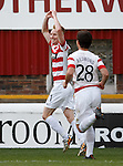 Ali Crawford celebrates after scoring for Hamilton Accies