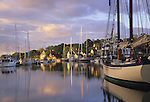 Harbor scene at sunrise. Camden, Maine, USA