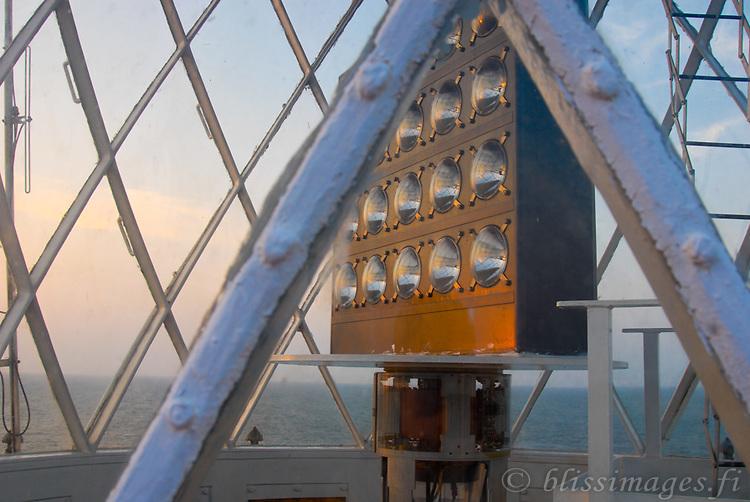 High-powered modern revolving light panels have replaced the original fresnel lens at Barberyn (Beruwala) Lighthouse, Sri Lanka