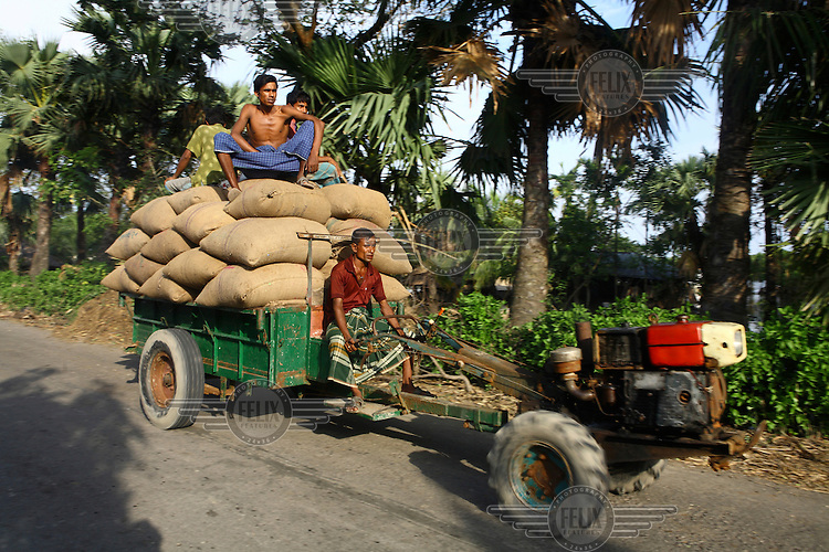 Men transport sandbags to help relieve flood damage. Thousands of people were displaced in Shyamnagar Upazila, Satkhira district after Cyclone Aila struck Bangladesh on 25/05/2009, triggering tidal surges and floods.