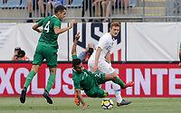 Chester, PA - Monday May 28, 2018: Carlos Añez, Josh Sargent during an international friendly match between the men's national teams of the United States (USA) and Bolivia (BOL) at Talen Energy Stadium.