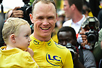 Christopher Froome with wife son Kaylan wins his 4th Tour de France at the end of Stage 21 of the 104th edition of the Tour de France 2017, an individual time trial running 1.3km from Montgeron to Paris Champs-Elysees, France. 23rd July 2017.<br /> Picture: ASO/Pauline Ballet | Cyclefile<br /> <br /> <br /> All photos usage must carry mandatory copyright credit (&copy; Cyclefile | ASO/Pauline Ballet)