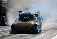 Oct 18, 2019; Ennis, TX, USA; NHRA funny car driver J.R. Todd during qualifying for the Fall Nationals at the Texas Motorplex. Mandatory Credit: Mark J. Rebilas-USA TODAY Sports
