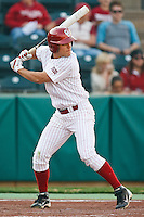 Ricky Eisenberg (10) batting during the NCAA matchup between the University of Arkansas-Little Rock Trojans and the University of Oklahoma Sooners at L. Dale Mitchell Park in Norman, Oklahoma; March 11th, 2011.  Oklahoma won 11-3.  Photo by William Purnell/Four Seam Images
