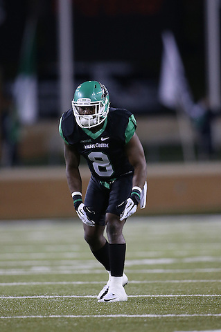 Denton, TX - OCTOBER 29: Marcus Trice #8 of the North Texas Mean Green - University of North Texas Mean Green Football vs Rice University Owls at Apogee Stadium in Denton Texas on October 31, 2012 in Denton, Texas. (Photo by Rick Yeatts)