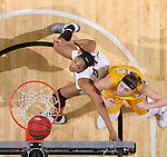 SIOUX FALLS, SD: MARCH 6: Mikale Rogers #33 of IUPUI and Ellie Thompson #45 of South Dakota State wait for a rebound during the Summit League Basketball Championship on March 6, 2017 at the Denny Sanford Premier Center in Sioux Falls, SD. (Photo by Dave Eggen/Inertia)