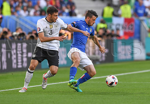 02.07.2016. Bordeaux, France. 2016 European football championships. Quarterfinals match. Germany versus Italy.  Jonas Hector (Ger) challenges Thiago Motta (Ita)