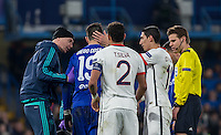Concern as Diego Costa of Chelsea comes off injured during the UEFA Champions League Round of 16 2nd leg match between Chelsea and PSG at Stamford Bridge, London, England on 9 March 2016. Photo by Andy Rowland.