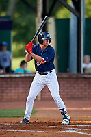 Elizabethton Twins left fielder Tyler Webb (30) at bat during a game against the Bristol Pirates on July 28, 2018 at Joe O'Brien Field in Elizabethton, Tennessee.  Elizabethton defeated Bristol 5-0.  (Mike Janes/Four Seam Images)