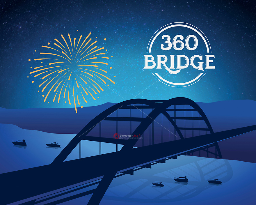 360 Pennybacker Bridge silhouette fine art print in blue.