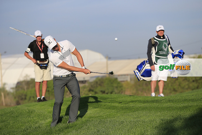 Magnus A CARLSSON (SWE) chips from the rough at the 2nd green during Friday's Round 2 of the Portugal Masters 2015 held at the Oceanico Victoria Golf Course, Vilamoura Algarve, Portugal. 15-18th October 2015.<br /> Picture: Eoin Clarke | Golffile<br /> <br /> <br /> <br /> All photos usage must carry mandatory copyright credit (&copy; Golffile | Eoin Clarke)