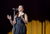 NWA Democrat-Gazette/BEN GOFF @NWABENGOFF<br /> Claire Redlaczyk sings on Thursday Sept. 24, 2015 during Talent Night of the Miss Bentonville High School Scholarship Pageant in the school's Arend Arts Center. Evening gown, finals and awards for the pageant will be held at the school on Saturday at 7:00p.m.