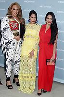 NEW YORK, NY - MAY 14: Nina Jax, Brie Bella, Nikki Bella at the 2018 NBCUniversal Upfront at Rockefeller Center in New York City on May 14, 2018.  <br /> CAP/MPI/RW<br /> &copy;RW/MPI/Capital Pictures