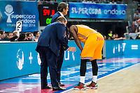 Herbalife Gran Canaria's coach Luis Casimiro and Bo McCalebb during the final of Supercopa of Liga Endesa Madrid. September 24, Spain. 2016. (ALTERPHOTOS/BorjaB.Hojas) NORTEPHOTO.COM