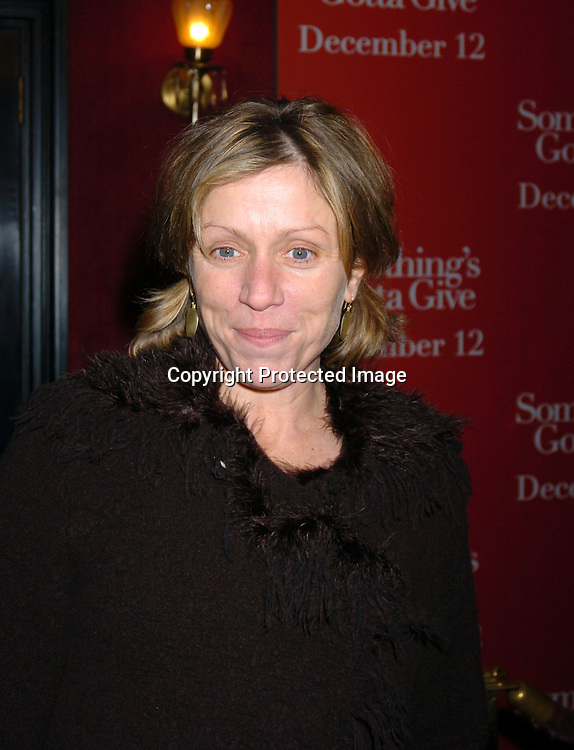 "Frances McDormand..at the World Premiere of "" Something's Gotta Give"" on ..December 3,2003 at the Ziegfeld Theatre. PHoto by Robin Platzer, Twin Images"