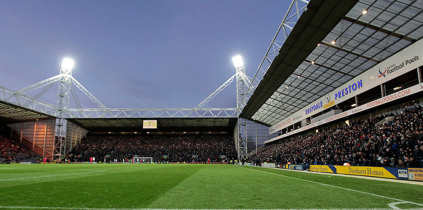 A general view of Deepdale, home of Preston North End<br /> <br /> Photographer David Shipman/CameraSport<br /> <br /> Football - The Football League Sky Bet Championship - Preston North End v Blackburn Rovers - Saturday 21st November 2015 - Deepdale - Preston <br /> <br /> &copy; CameraSport - 43 Linden Ave. Countesthorpe. Leicester. England. LE8 5PG - Tel: +44 (0) 116 277 4147 - admin@camerasport.com - www.camerasport.com