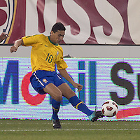 Brazil midfielder Paulo Henrique Ganso (10) passes the ball. Brazil  defeated the US men's national team, 2-0, in a friendly at Meadowlands Stadium on August 10, 2010.