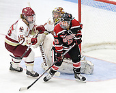 Jackie Young (BC - 25), Corinne Boyles (BC - 29), Claire Santostefano (Northeastern - 13) - The Northeastern University Huskies defeated the Boston College Eagles in a shootout on Monday, January 31, 2012, in the opening round of the 2012 Women's Beanpot at Walter Brown Arena in Boston, Massachusetts. The game is considered a 1-1 tie for NCAA purposes.
