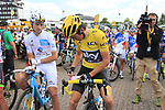 Race leader Yellow Jersey Geraint Thomas (WAL) Team Sky signs a bidon for a fan as he waits for the start in Mondorf-les-Bains of Stage 4 of the 104th edition of the Tour de France 2017, running 207.5km from Mondorf-les-Bains, Luxembourg to Vittel, France. 4th July 2017.<br /> Picture: Eoin Clarke | Cyclefile<br /> <br /> <br /> All photos usage must carry mandatory copyright credit (&copy; Cyclefile | Eoin Clarke)