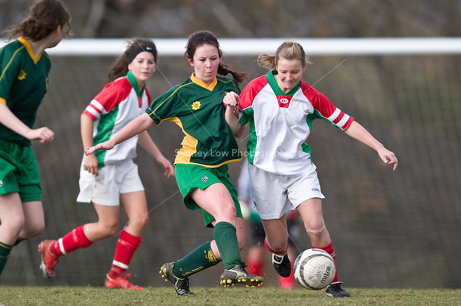 MELBOURNE, AUSTRALIA - June 6, 2010. Round 8 match of the under 15/16A competition in the 2010 FFV winter season between Ashburton WSC and Croydon City Arrows SC at Ashburton Park. Photo by Sydney Low / www.syd-low.com