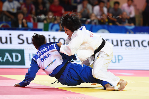 (L-R) Erika Miranda (BRA), Misato Nakamura (JPN), AUGUST 25, 2015 - Judo : World Judo Championships Astana 2015 Women's -52kg Semi-Final match at Alau Ice Palace in Astana, Kazakhstan. (Photo by AFLO SPORT)