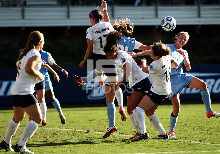 SAN DIEGO, CA - DECEMBER 02, 2012:  Players of the University of North Carolina clash in the penalty box  of Penn State University during the NCAA 2012 women's college championship match, at Torero Stadium, in San Diego, CA, on Sunday, December 02 2012. Carolina won 4-1.