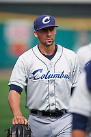 Columbus Clippers relief pitcher Ben Heller (44) walks to the dugout after a game against the Rochester Red Wings on June 16, 2016 at Frontier Field in Rochester, New York.  Rochester defeated Columbus 6-2.  (Mike Janes/Four Seam Images)