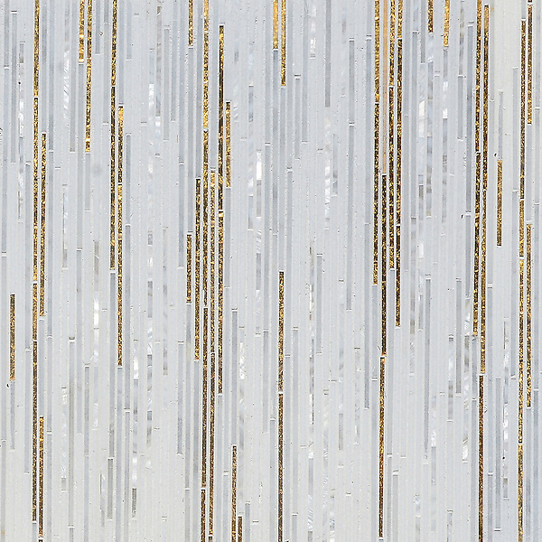 Zebrano, a hand-cut mosaic shown in  24K Gold Glass, Shell, Thassos, and Afyon White, is part of the Aurora® collection by New Ravenna.