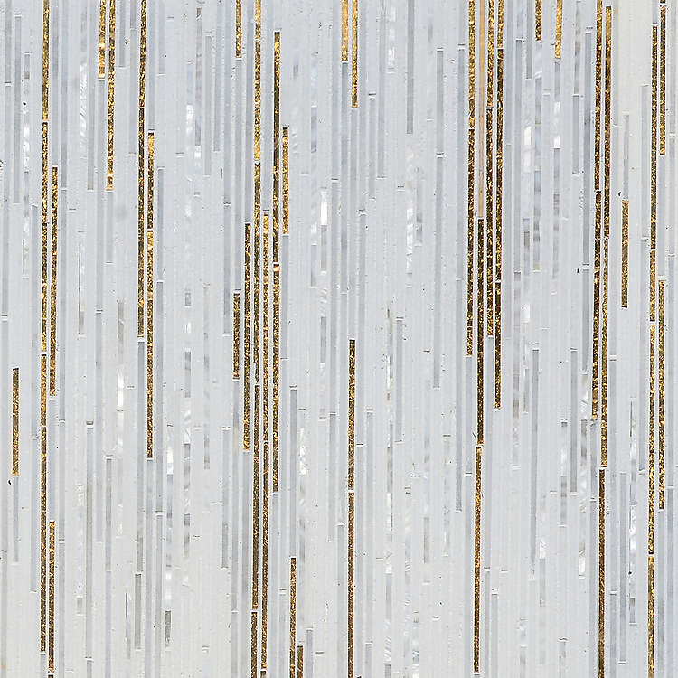 Zebrano, a hand-cut mosaic shown in  24K Gold Glass, Shell, Thassos and Afyon White, is part of the Aurora® collection by Sara Baldwin for New Ravenna.