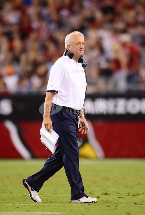 Aug. 30, 2012; Glendale, AZ, USA; Denver Broncos head coach John Fox against the Arizona Cardinals during a preseason game at University of Phoenix Stadium. Mandatory Credit: Mark J. Rebilas-