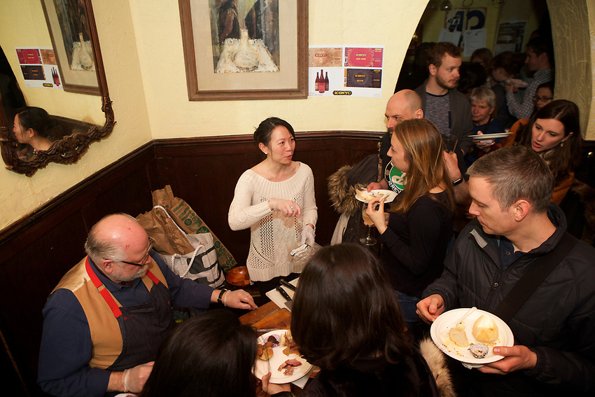 NEW YORK, NY - March 26, 2017: Slow Food NYC presents Duck Off! A competition in which cooks present dishes featuring duck as the main ingredient. Proceeds from the event go to Urban Harvest, Slow Food NYC's food education program for kids around New York. <br /> <br /> Credit: Clay Williams for Slow Food NYC.<br /> <br /> &copy; Clay Williams / http://claywilliamsphoto.com