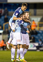 Garry Thompson (right) of Wycombe Wanderers celebrates his goal during the Checkatrade Trophy round two Southern Section match between Millwall and Wycombe Wanderers at The Den, London, England on the 7th December 2016. Photo by Liam McAvoy.