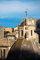 Church dome of historic Catholic church of Blessed Virgin of Carmel-Tenedo among rooftops in Kerkyra, Corfu Town, Greece